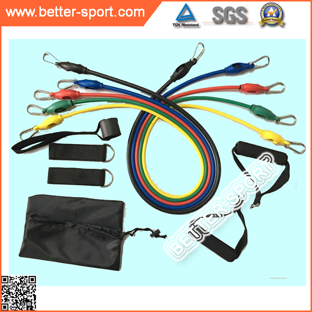 Power Bands Muscle Exerciser Latex Tube 11PCS Latex Resistance Band with Hooks Flexible Foam Tubing